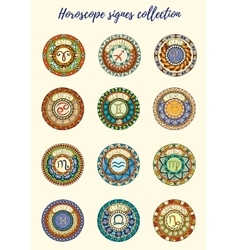 Zodiac signs theme Set of mandalas with libra vector image vector image