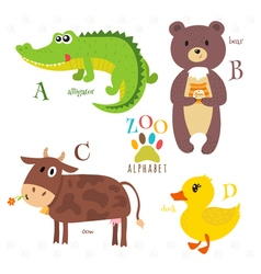 Zoo alphabet with funny cartoon animals a b c d vector