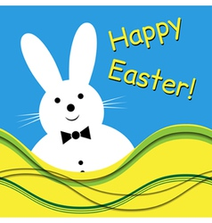 - white bunny with bow tie vector image
