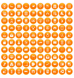 100 postal service icons set orange vector