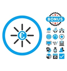 Euro distribution flat icon with bonus vector