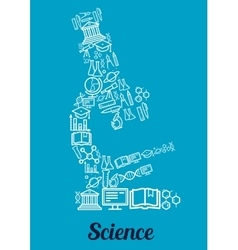 Science conceptual microscope shape emblem vector