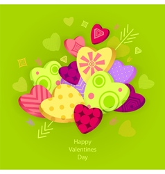 Textured hearts with 3d effect and arrow on green vector