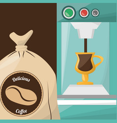 Premium coffee sac drink vector