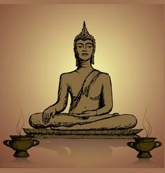 Hand drawn buddha in meditation vector