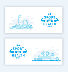 Sport and fitness banners vector