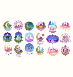 Set color badges emblems vector