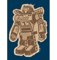 Robot patch with brown print on a navy background vector