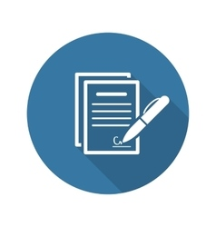 Signing contract icon business concept flat vector