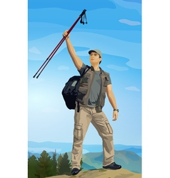 Man tourist standing on mountain top vector