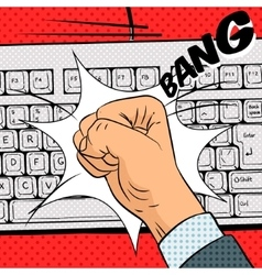 Fist hits the keyboard comic book style vector