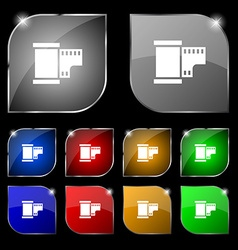 35 mm negative films icon sign set of ten colorful vector