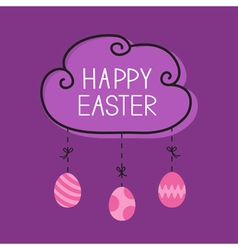 Happy easter cloud frame hanging painted eggs dash vector