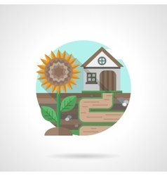 Village house detailed flat color icon vector