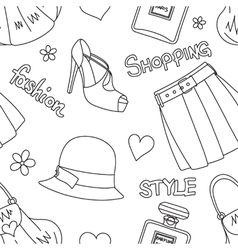 Seamless pattern with hats perfumefootwear etc vector