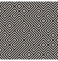 Seamless black and white maze stripes vector