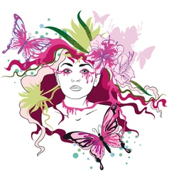 Spring portrait of woman vector image