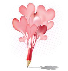 Abstract red pencil heart balloon icon vector