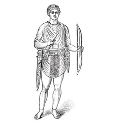 Archer is a roman empire vintage engraving vector