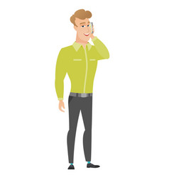 Businessman talking on a mobile phone vector