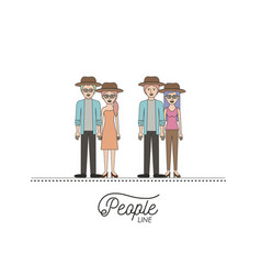 Caricature double couple young people line with vector