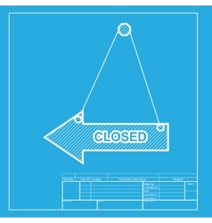 Closed sign white section of icon on vector