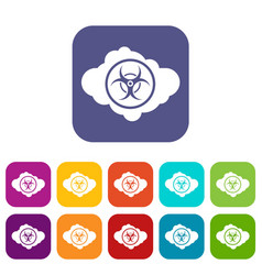 Cloud with biohazard symbol icons set vector
