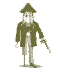 Engraved cartoon pirate vector