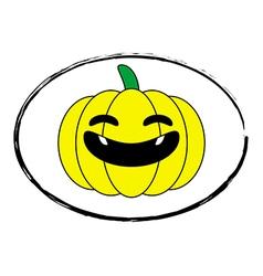 Halloween pumpkin yellow cartoon stamp logo vector image vector image