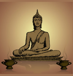 hand drawn buddha in meditation vector image