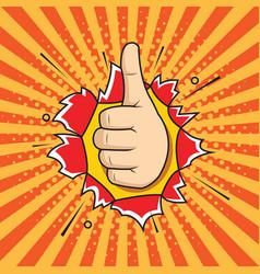 Hand ok sign comic pop art style vector