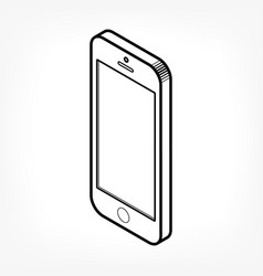 isometric outline phone vector image