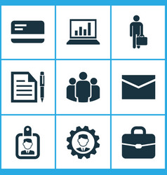 Job icons set collection of diagram contract id vector