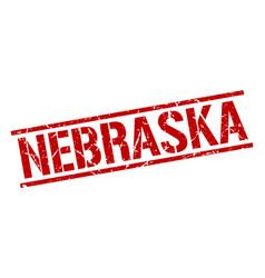 Nebraska red square stamp vector