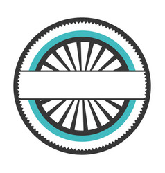 Realistic color circular shape stamp with striped vector