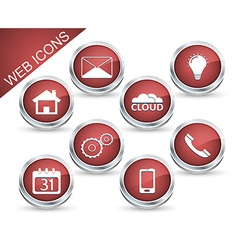 Set of icons or buttons in red vector image vector image