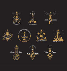 Set of isolated lighthouse icons with rocks vector