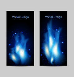 Set of vertical banners with abstract blue fire vector