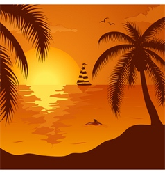 summer background with palm tree dolphin and yacht vector image vector image