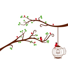 Two Tree Branches with bird cage and love birds vector image