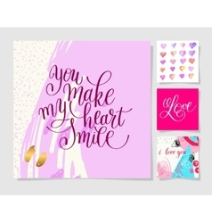 valentines day design set calligraphy vector image