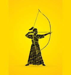 Woman bowing kyudo archer sport girl vector