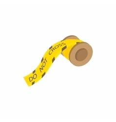 Yellow plastic do not cross tape icon vector