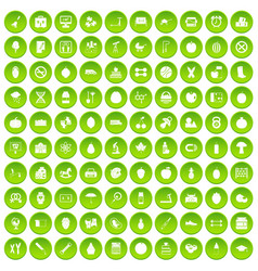 100 apple icons set green circle vector