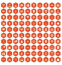 100 success icons hexagon orange vector