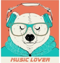 Polar bear with glasses and headphones vector