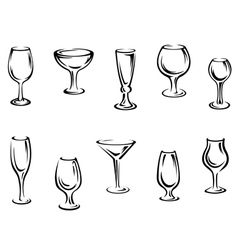 Alcohol and drink glasses vector