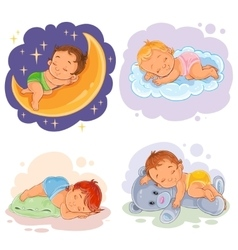 Set babies sleep vector