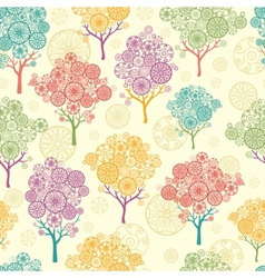 Colorful abstract trees seamless pattern vector image