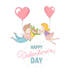Happy valentines day couple characters flying vector